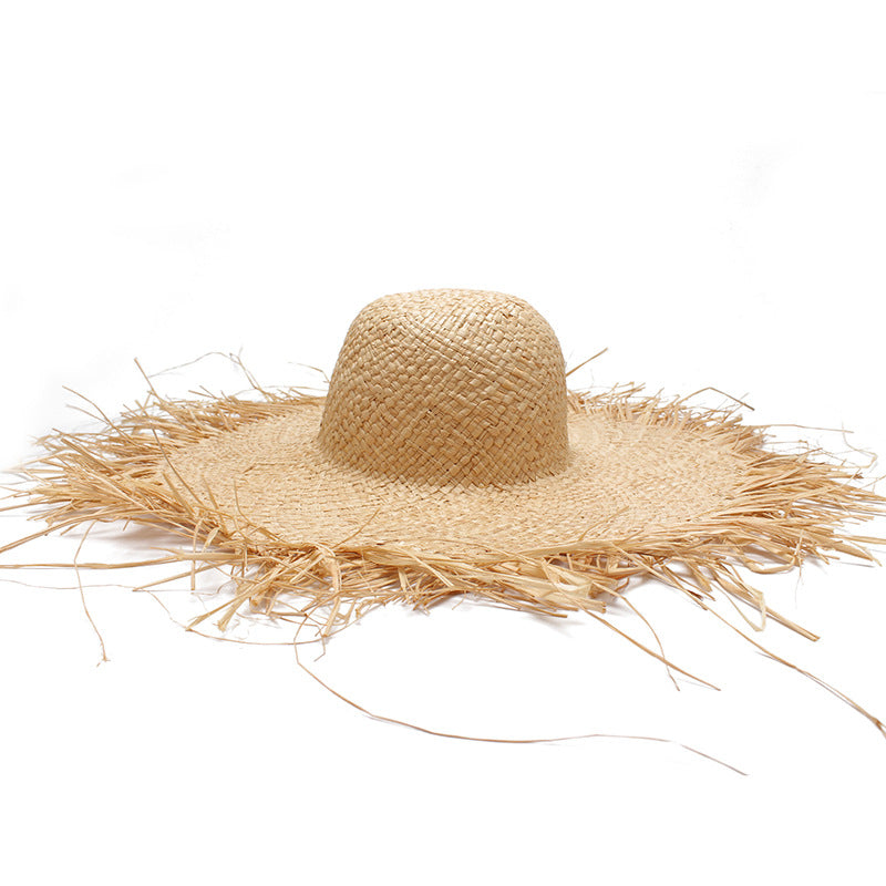 Women Fashion Large Brim Straw Hat Irregular Fringed Beach Hat (As picture Adjustable)