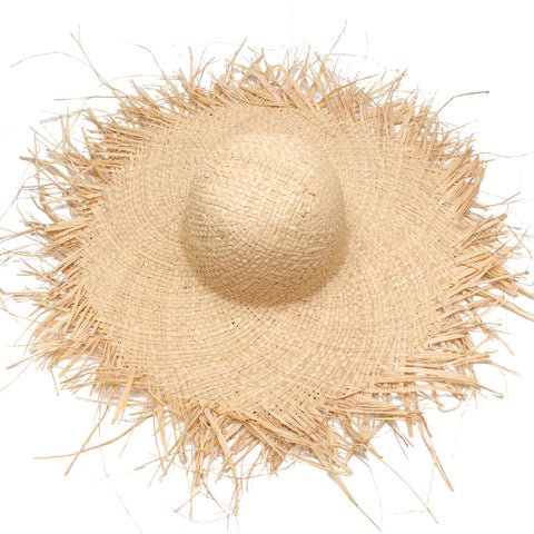 Women Fashion Large Brim Straw Hat Irregular Fringed Beach Hat