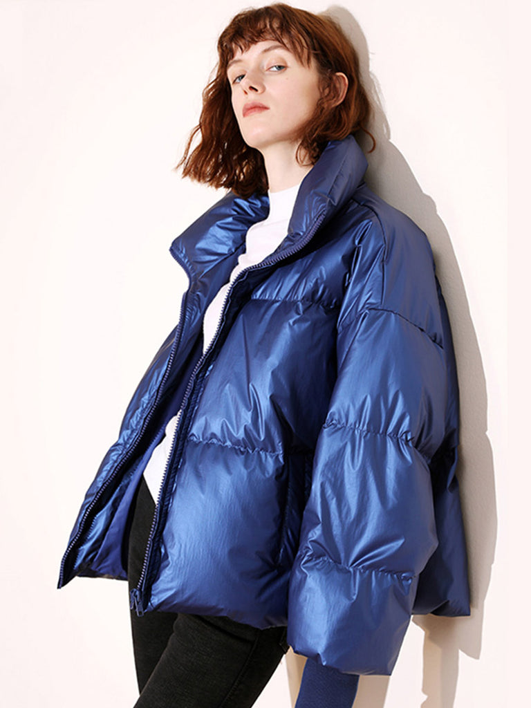 Winter Jacket Glossy Waterproof Padded Down
