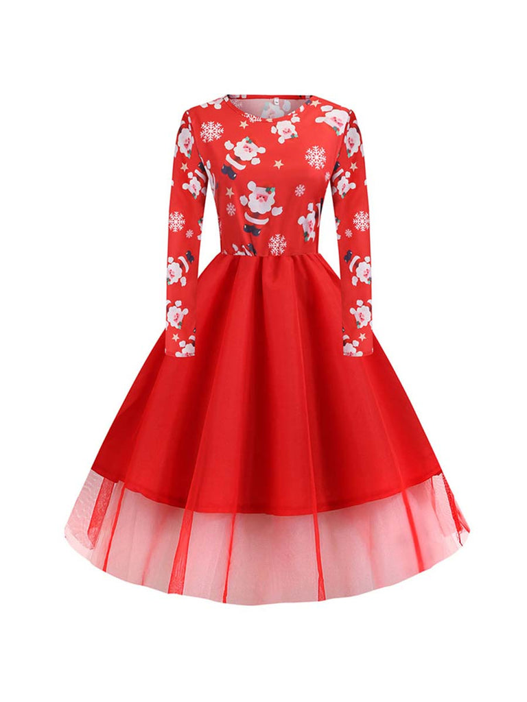 Christmas Dress Vintage Long Sleeve Print Party Dress