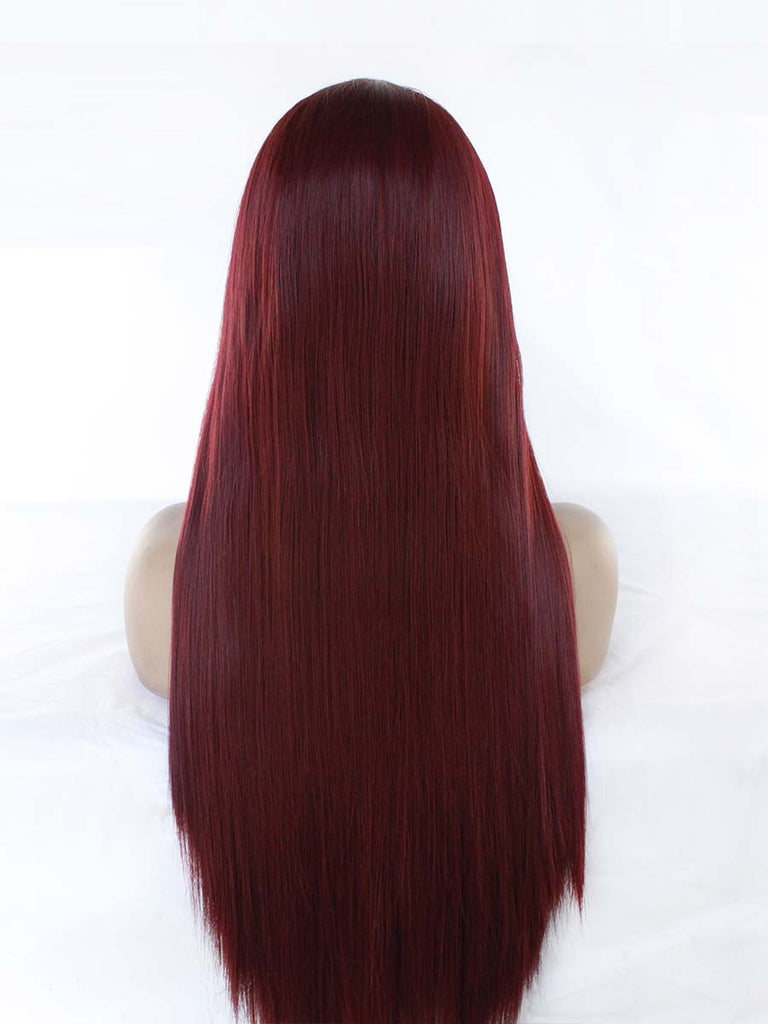Chemical Fiber Front Lace Crimson Long Straight Wig