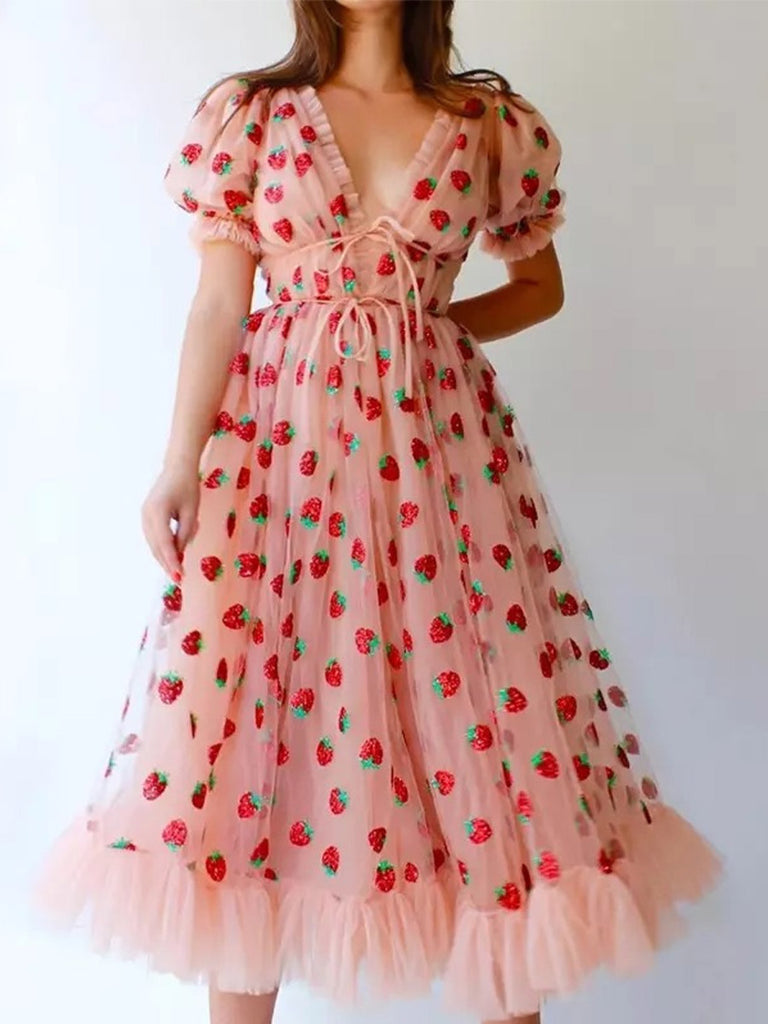 Women's Strawberry Dress Sweet Mesh Sexy V Neck Puff Sleeve Maxi Dress