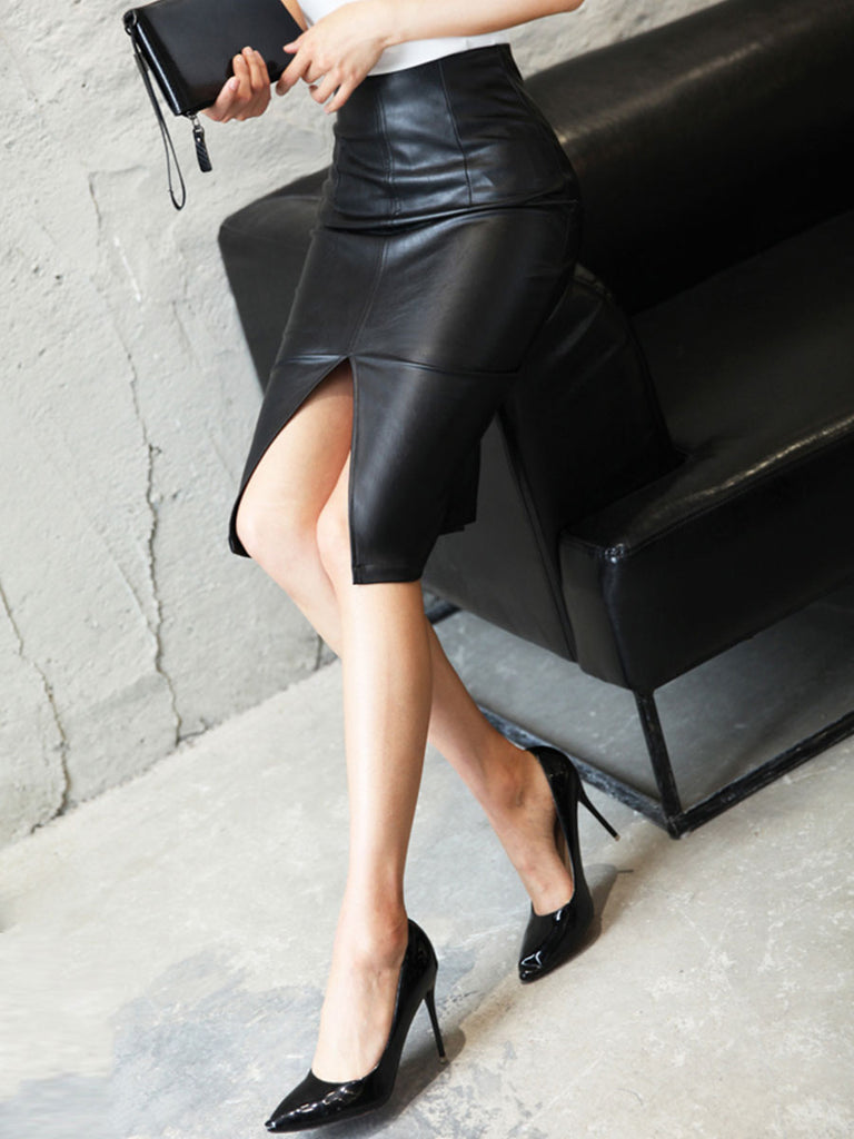 Black Leather Skirt High Waist PU Pencil Midi Skirt