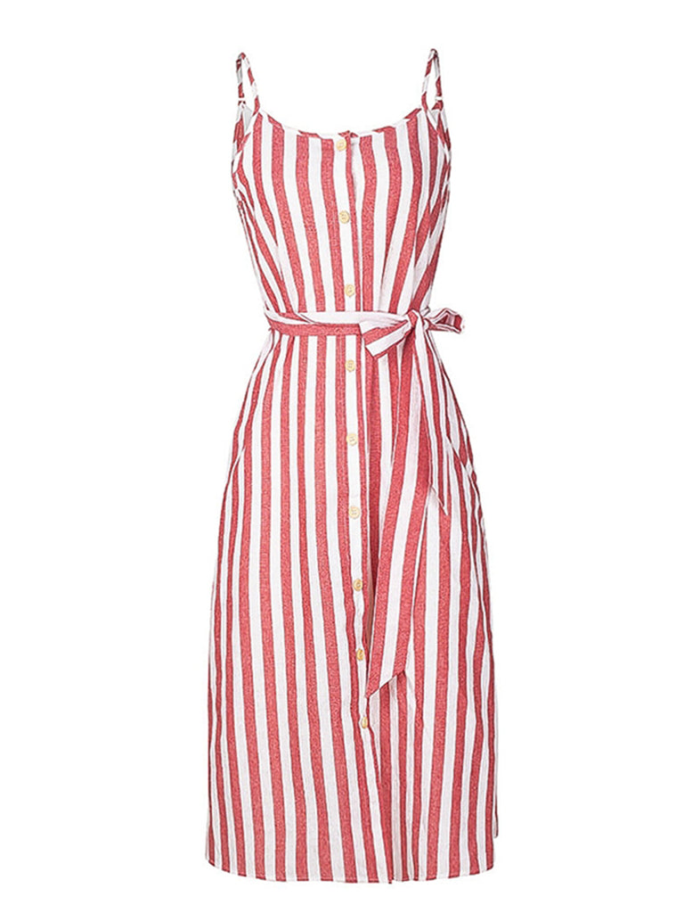 Womens Slip Dress Elegant Stripe Spaghetti Strap Dress