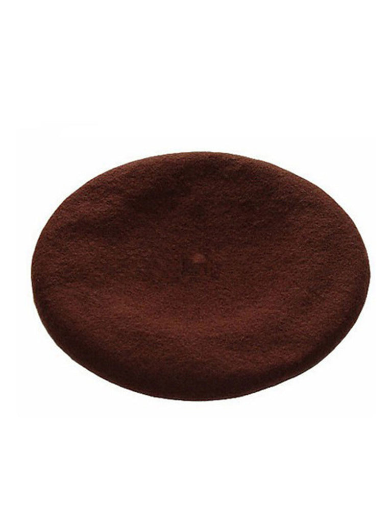 Vintage Beret Painter Style Solid Color Wool Hat
