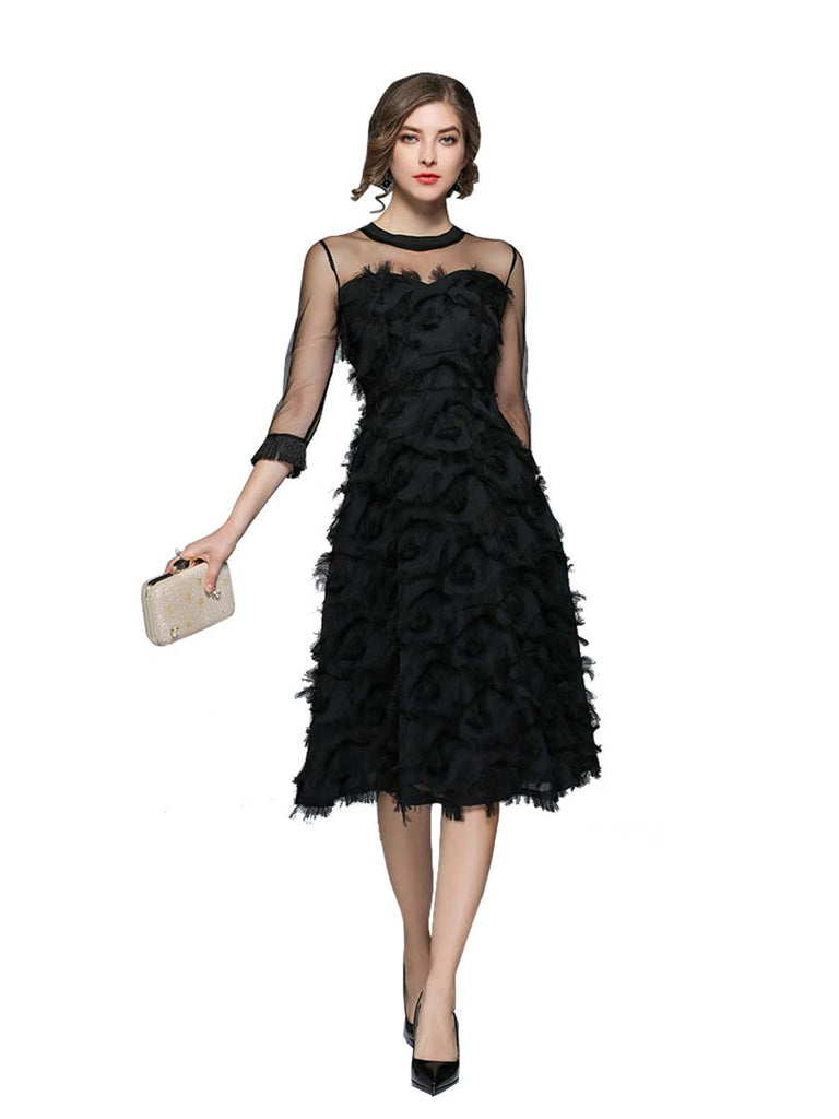 Luxury Evening Party Dress Elegant Lace O-neck Black Dress
