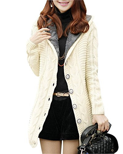 Knitted Coat Hooded Faux Fur Lined Button Cardigan