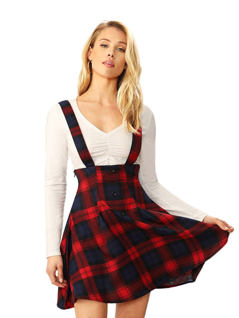 A-Line Plaid Skirt High Waist Button Front Mini Skirt With Thick Strap Preppy