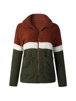 Casual Outwear Soft Fur Stitching Color Jacket Coat
