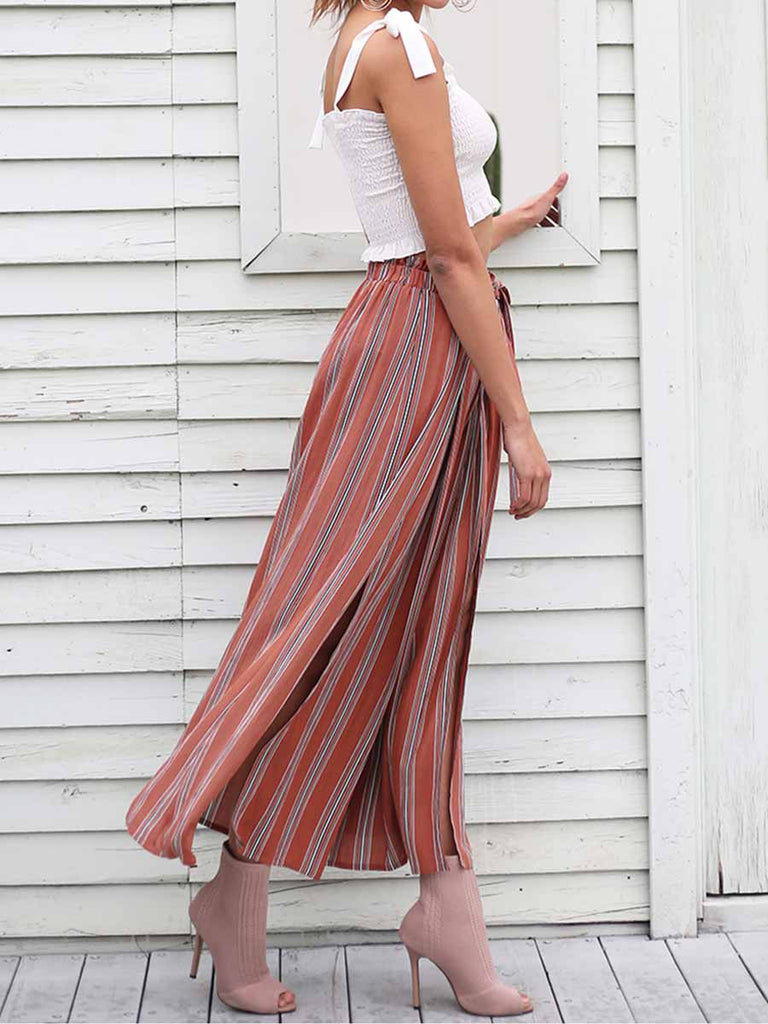 Casual Streetwear Split Sash Striped Wide Leg Pants
