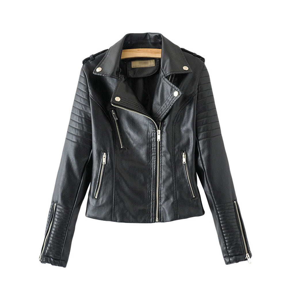 Women Pu Leather Jacket Slim Cool Zipper Biker Jacket Winter Tops Blazer Coat