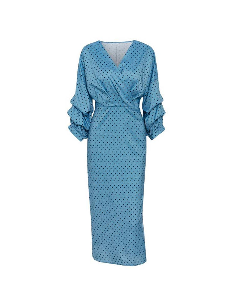 Vintage Dress Elegant V-neck Polka Dot Lantern Sleeve Dress