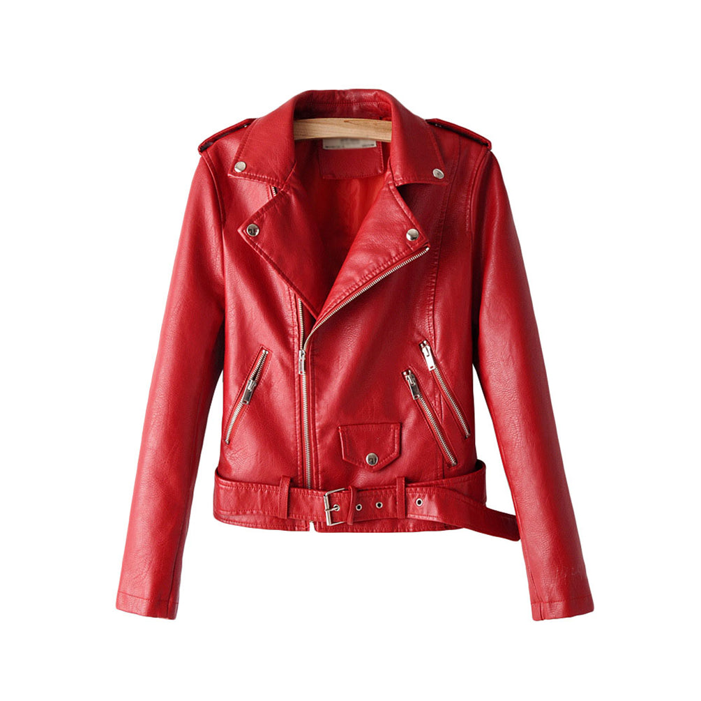 Women Slim Fit Faux Leather Jacket Moto Biker Short Coat Jacket Cool Zip Up Jacket Coats
