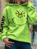 Women The Grinch Drink Up Printed Long Sleeve How the Grinch Stole Christmas Hoodie