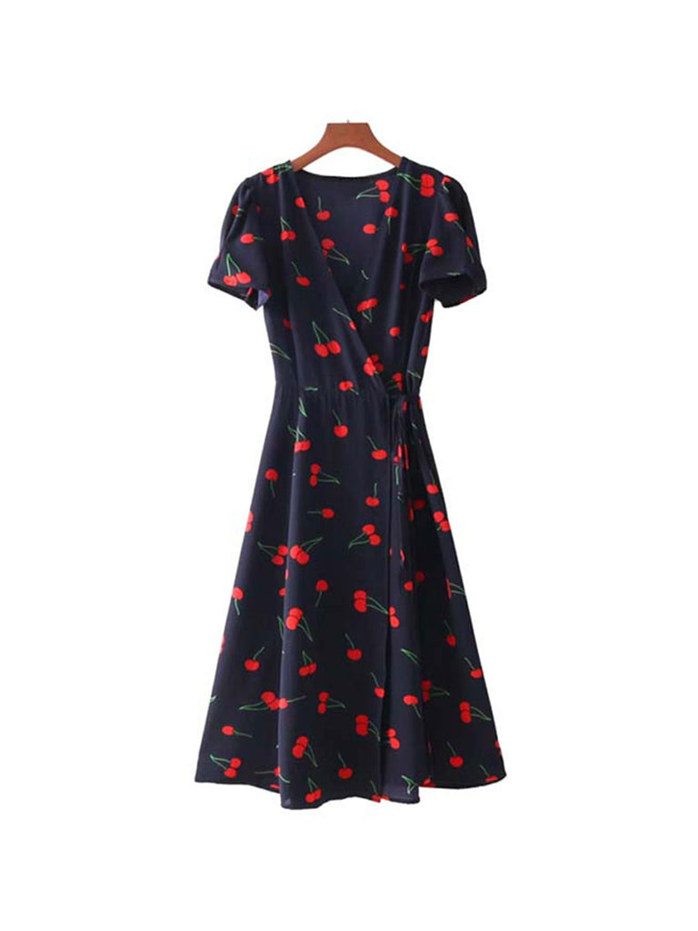 Wrap Dress Floral Pattern Bow Tie Cross Design Midi Dress