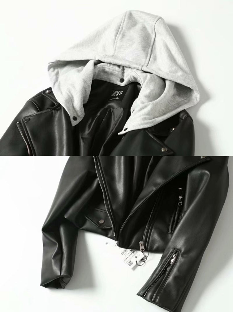 Women Slim Fitted Zip Up Jackets Short Jacket Punk Biker Jacket Coats With Removable Hood