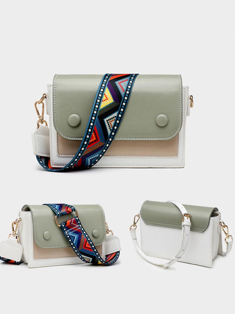 Pu Leather Colorful Wide Strap Crossbody Bag
