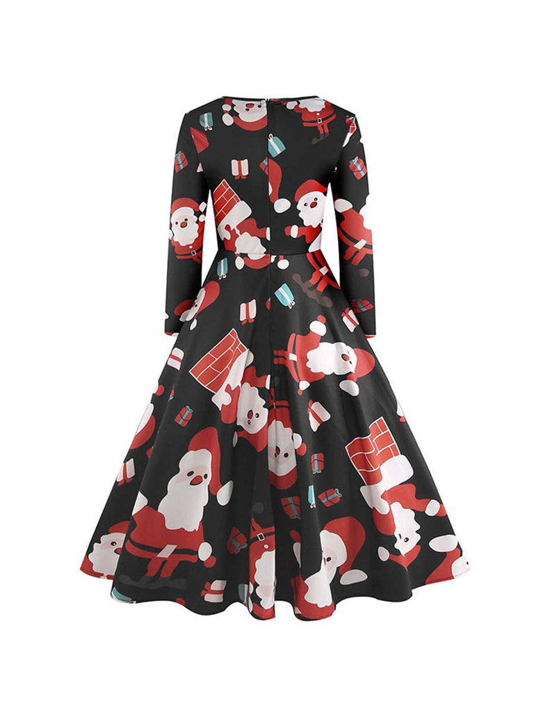 Christmas Dress Long Sleeve Winter Print A-Line Party Dress