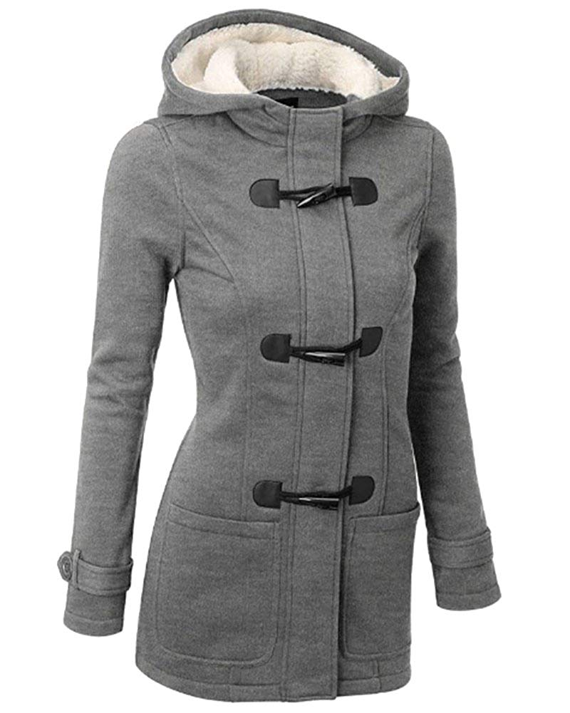 Ladies Hooded Outwear Warm Cotton Peacoat