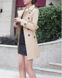 Casual Windbreaker Lapel Solid Color Long Sleeve Double Breasted Coat