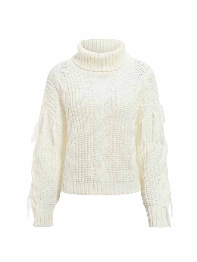 Casual Women Sweater Winter Turtleneck Knitwear Oversized Tassel Knitted Pullover