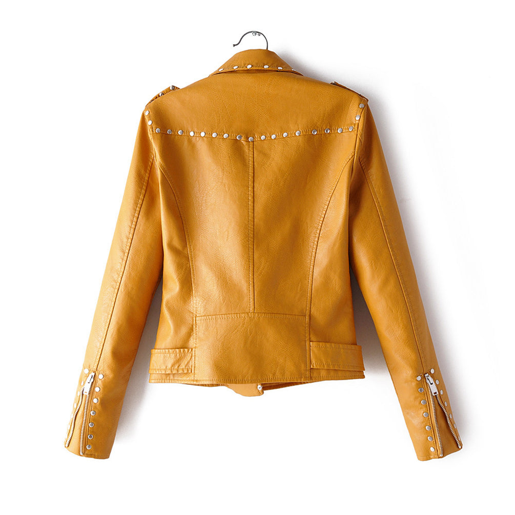Vintage Slim Fitted Jacket Zip Up Soft Pu Leather Short Jacket With Multi-Rivet Decoration