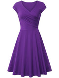 Womens Prom Dresses Elastic Cotton Sexy V-neck Dress