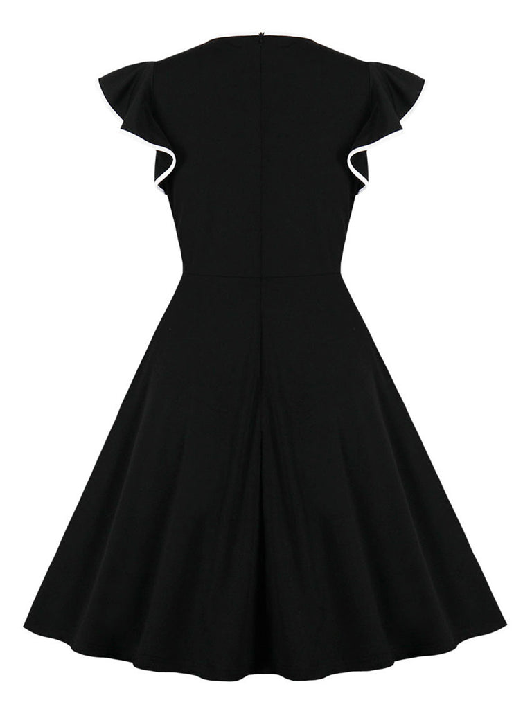 1940s Dress Sweet V-neck Ruffled Sleeve dress