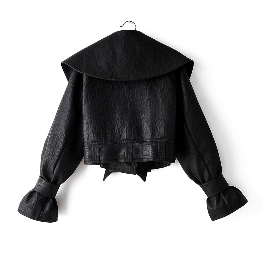 Women Short Slim Fit Pu Leather Jacket Stylish Lapel Cardigan Biker Jacket With Bell Sleeve