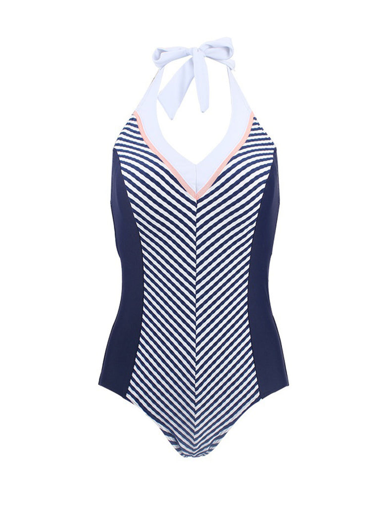 Striped Swimsuit Female V-neck Sling Triangle One-piece Slim Cover Belly