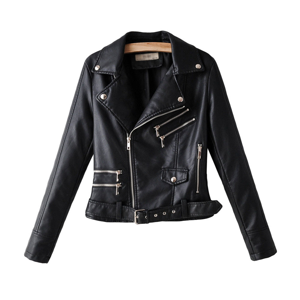 Ladies Pu Leather Jacket Long Sleeve Lapel Zip Up Short Blazer Jacket Top