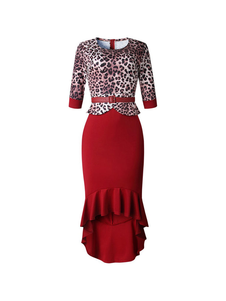 Ladies Bodycon Dress Elegant Leopard Pattern Mermaid Slim Dress