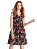 Womens Floral Dress V Neck Sexy Sleeveless Party Dress