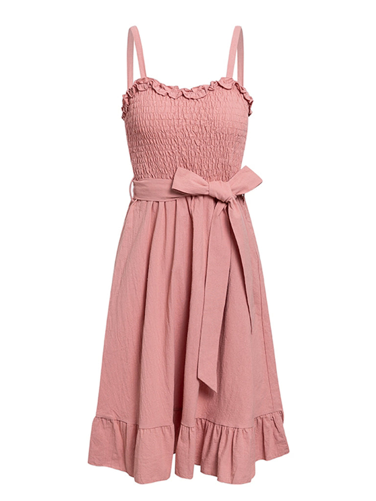 Womens Slip Dress Ruffled Sexy Midi Dress