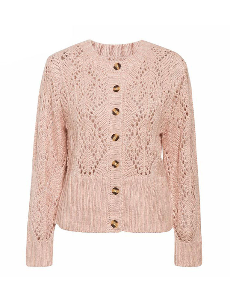 Womens Outwear Long Sleeve Hollow Out Crochet Knitted Cardigan Sweater