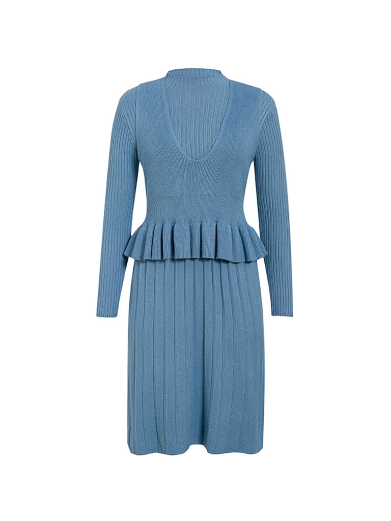 Knitted Dress Set Elegant Solid Striped Ruffle Slim 2 Pieces Set