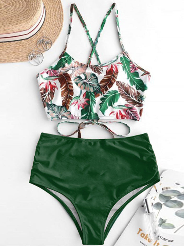 Women's Two Pieces Set Sunflower Printed High Waist Spaghetti Strap Swimsuits