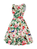 Plus Size Butterfly Print Vintage Dress 50s Dress