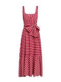 Vintage Striped Dress Sleeveless Sashes Holiday Long Dress