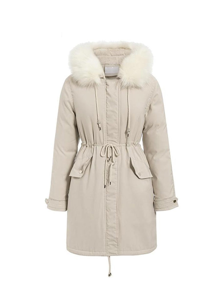 Ladies Outwear Fur Hooded Lace-up Button Long Padded Coat