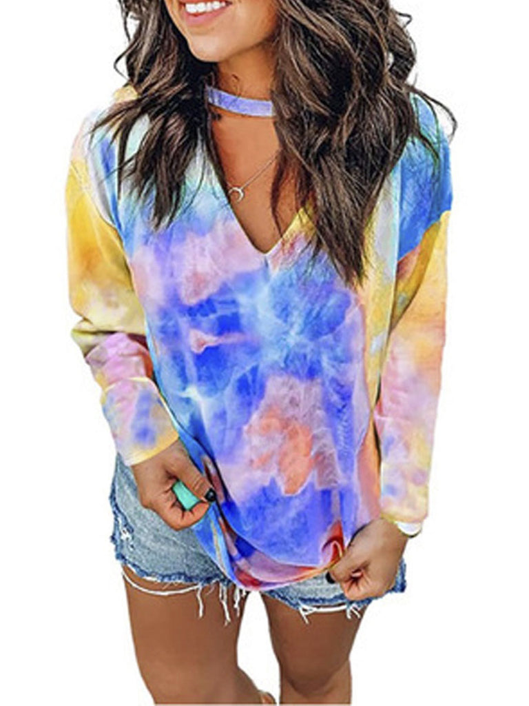 Women's T Shirt Tie-dye Long-sleeved V-neck T-shirt