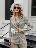 Women Blazer Casual Plaid Double-breasted Long Sleeve Suit Set
