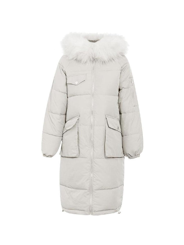 Ladies Outwear Warm Furry Hooded Long Padded Coat
