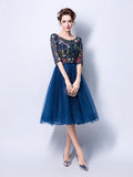 Womens Dress Half Sleeve Embroidery Prom Dress Knee Length Party Dress