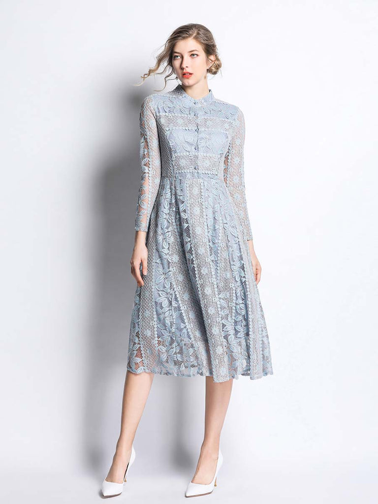 Party Dress  Elegant Floral Hollow Out Slim Dress