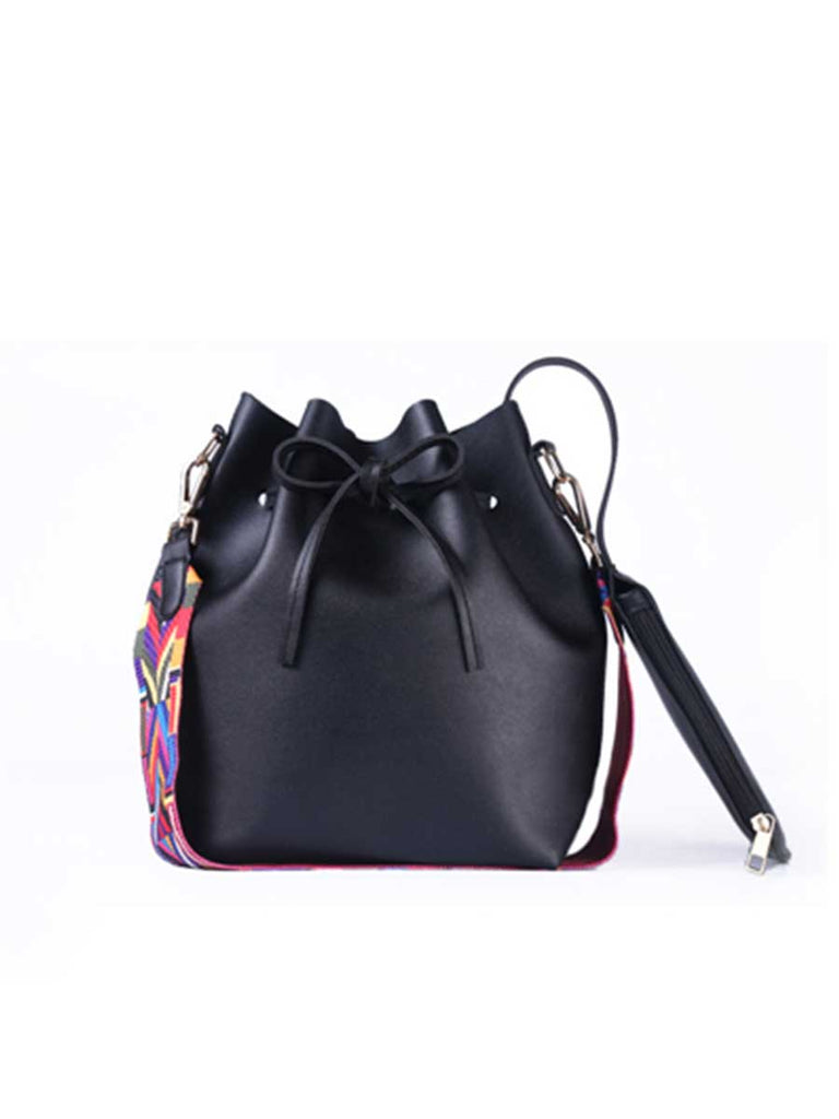 PU Leather Colorful Strap Bucket Bag