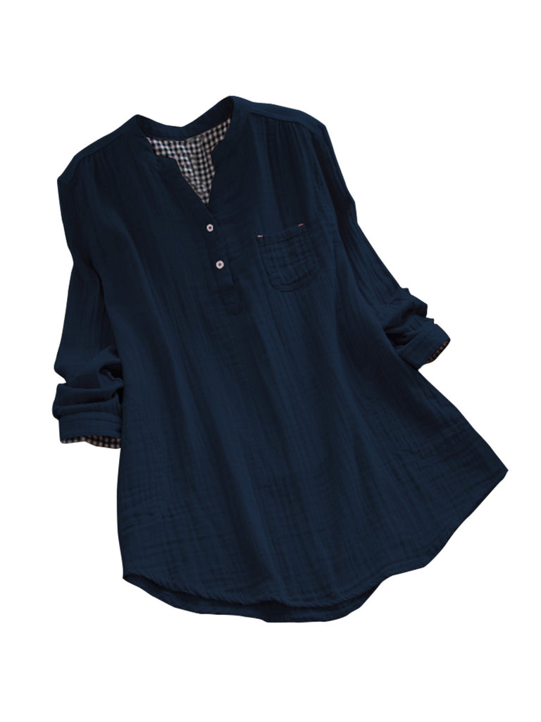 Loose Shirt Solid V Neck Long Sleeve Buttons Pockets Top
