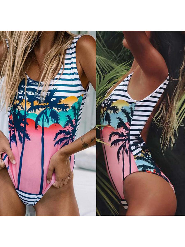 Summer Sexy Slim Print One-piece Swimsuit Large Size Beachwear Wear