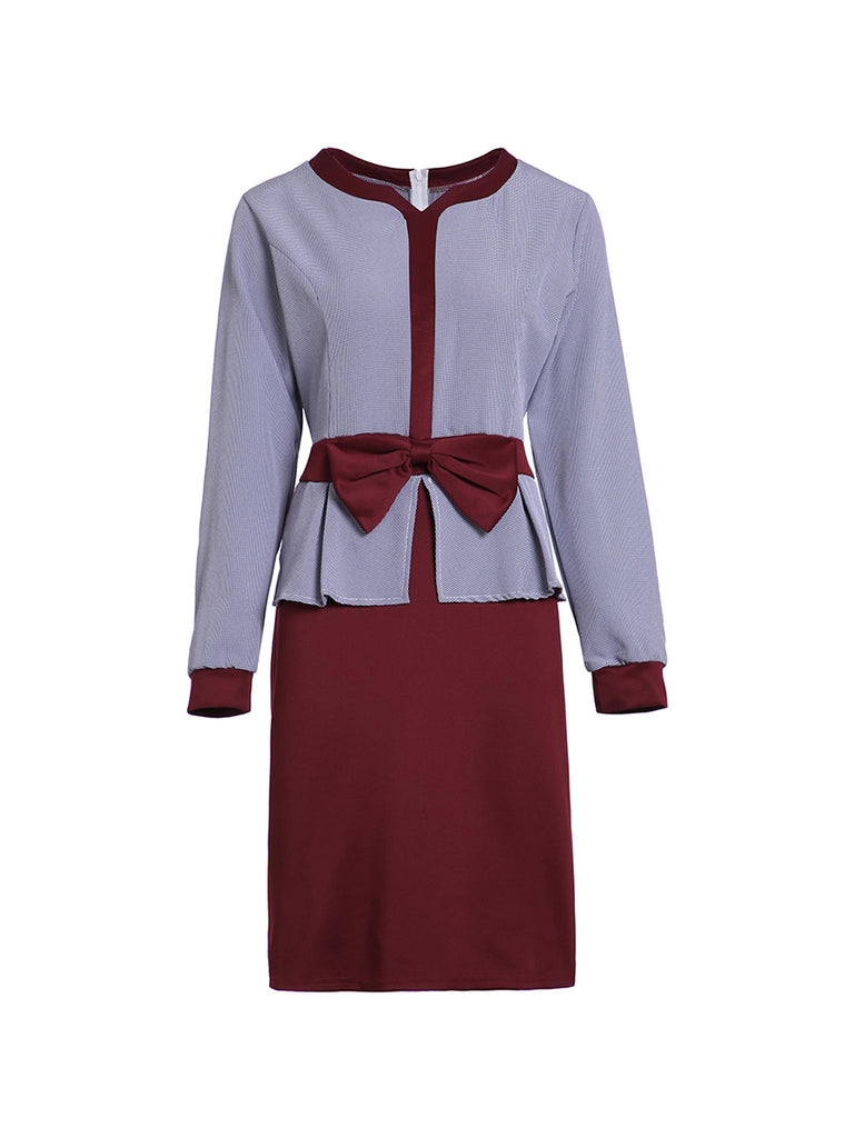 Ladies Dress Long Sleeve Bowknot Patchwork Pencil Dress