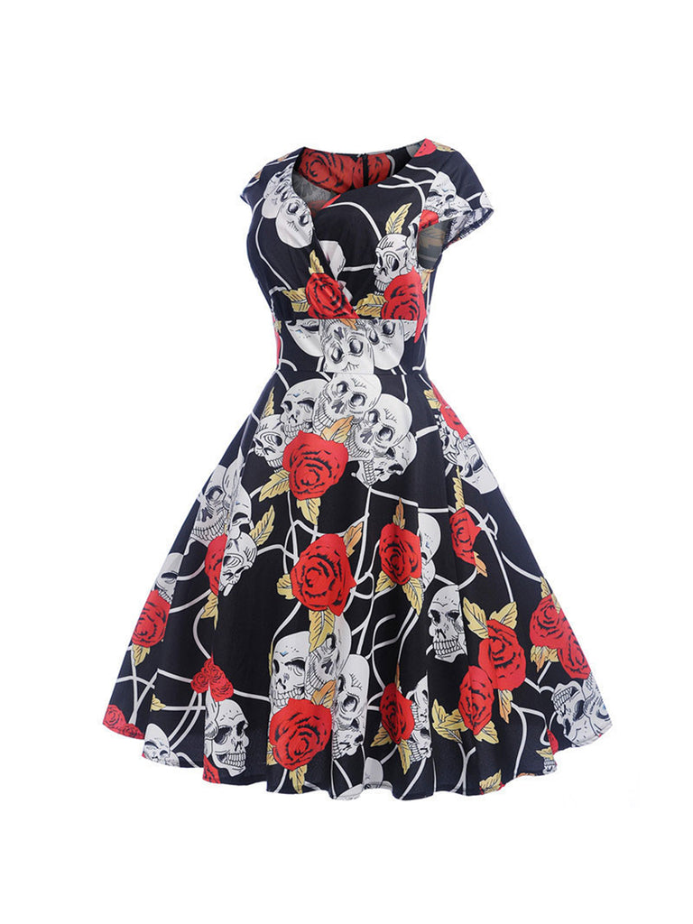 50s Elegant Party Dress Vintage Short Sleeve Floral V-Neck Swing Dress